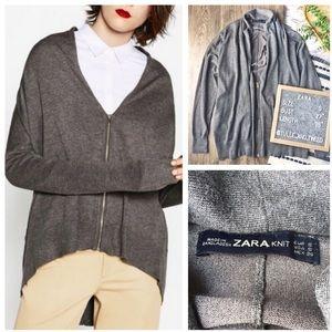 Zara knit oversized lightweight zipper cardigan S